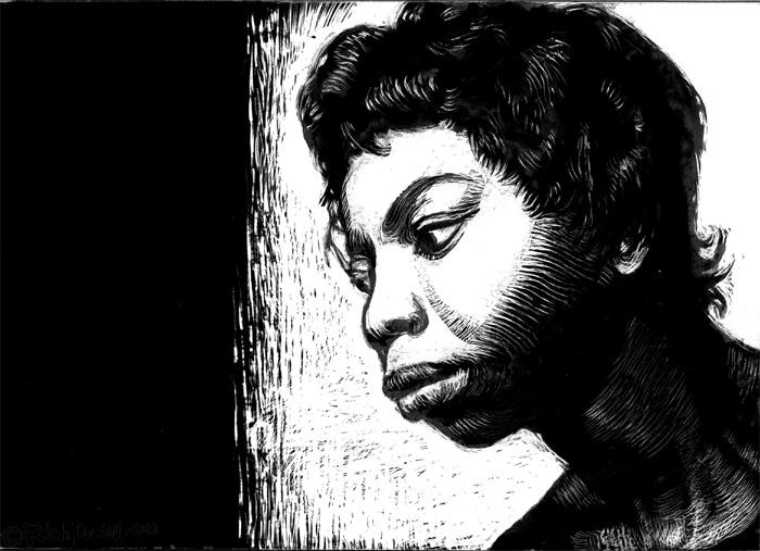 Nina Simone, scratchboard