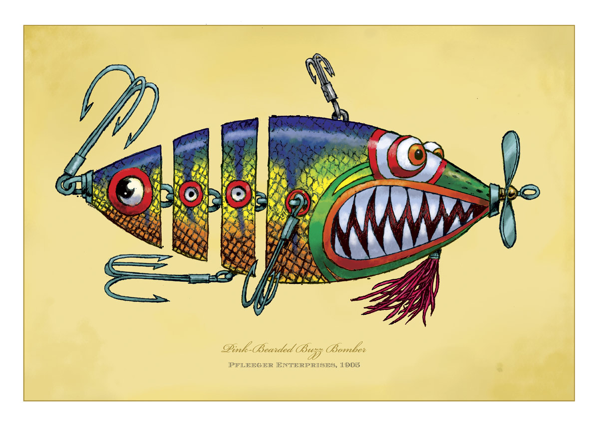 Fish print pink bearded buzz bomber rich powell for Fish pictures to print
